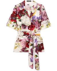 Dolce & Gabbana Floral Print Silk Satin Shirt