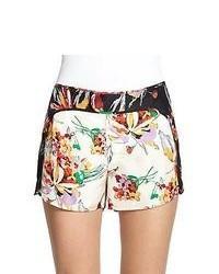 10 Crosby Derek Lam Floral Print Silk Satin Shorts Ivory