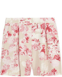 Floral print silk shantung shorts medium 47955