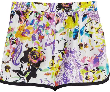 Etro Floral Print Silk Shorts