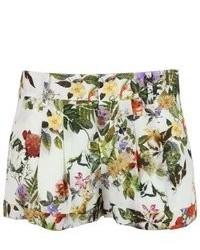 Haute Hippie Floral Print Cufffed Silk Shorts