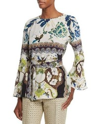 Etro Watercolor Floral Print Bell Sleeve Silk Tunic White