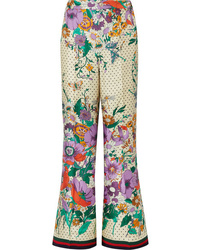 Gucci Printed Silk Charmeuse Wide Leg Pants