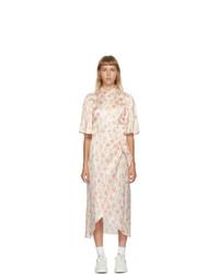 Les Rêveries White Silk Floral Wrap Shirt Dress