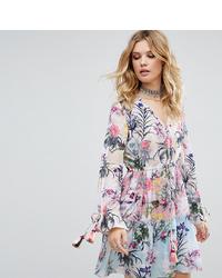 White Cove Tall Allover Multi Floral Print Smock Dress