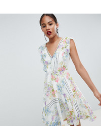 348adbd9e7f7a5 Asos Tall Asos Design Tall Ruffle Mini Dress With Open Back In Floral Print