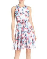 Chelsea28 Floral Print Chiffon Fit Flare Dress