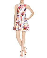 Aqua Floral Print Racerback Dress