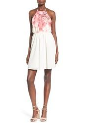 Jella C Floral Print Halter Skater Dress