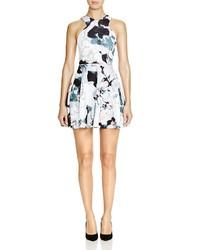 Aqua Sketch Floral Fit And Flare Dress