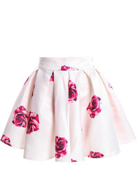 Rose Print Flare White Skirt