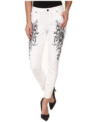Wisdom ankle skinny w floral embroidery in optic white medium 424997