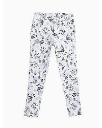 Choies White Floral Zipper Detail Skinny Pants