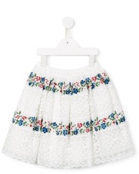 Ermanno Scervino Junior Floral Embroidery Lace Skirt