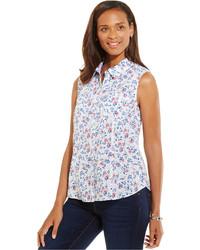 White Floral Sleeveless Button Down Shirt