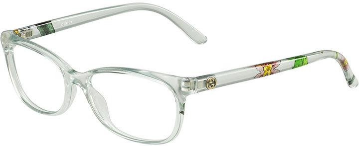 af163cc383d ... Neiman Marcus › Gucci › White Floral Sunglasses Gucci Square Floral Arm  Fashion Glasses Clear