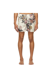 Bather Off White And Multicolor Floral Ripple Swim Shorts