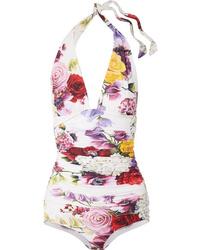 Dolce & Gabbana Floral Print Halterneck Swimsuit