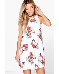 Boohoo Eleanor Floral High Neck Swing Dress