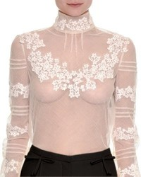Valentino Floral Embroidered Sheer Turtleneck Top