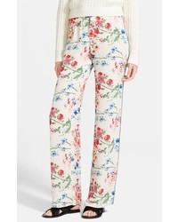Phalil floral print wide leg silk pants medium 195336