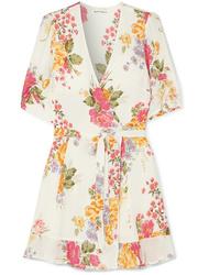 Reformation Monica Floral Print Tte Mini Wrap Dress