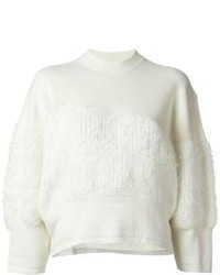 White Fluffy Crew-neck Sweater