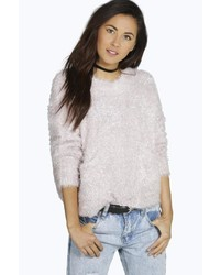 Boohoo Mia Fluffy Tinsel Yarn Pocket Jumper