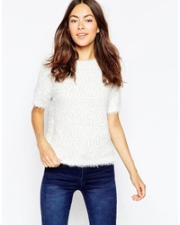 Brave Soul Short Sleeve Fluffy Sweater