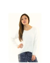 Soho Girl Cozy Fuzzy Wuzzy Sweater In White