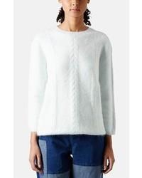 TOPSHOP Boutique Cable Knit Angora Blend Sweater