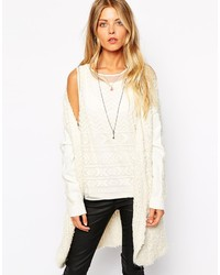 White Fluffy Open Cardigan