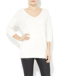 Ivory fluffy v neck jumper medium 164333