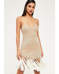 Missguided premium nude embellished cami fringe trim midi dress medium 1157142