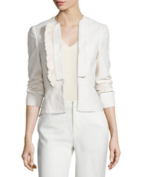 Derek Lam 10 Crosby Stretch Fringe Trim Peplum Blazer Soft White