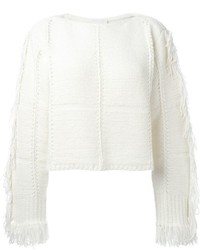 White Fringe Crew-neck Sweater