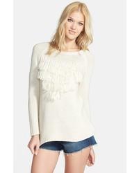Knot Sisters Lady Fox Fringe Sweater Winter White Medium
