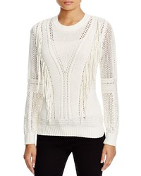 One A Fringed Open Knit Sweater