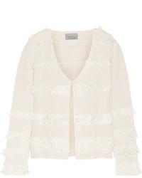 Maiyet Fringed Crocheted Silk Jacket Off White