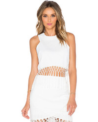 J.o.a. Sleeveless Fringe Crop Top