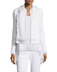 St. John Collection Zimmari Fringe Bracelet Sleeve Jacket Bianco