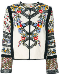 Tory Burch Fringe Trim Embroidered Jacket