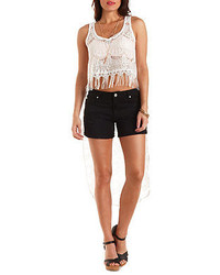 Charlotte Russe Extreme High Low Lace Crop Top