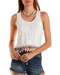 Charlotte Russe Lace Knit High Low Tank Top