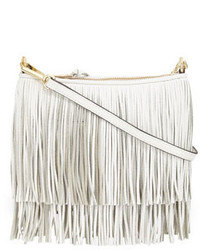 White Fringe Leather Crossbody Bag
