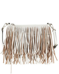 Rebecca Minkoff Finn Leather Fringe Crossbody Bag White
