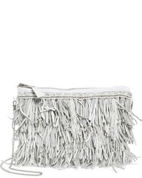 G lish bead leather fringe crossbody bag white medium 951608