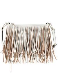 Rebecca Minkoff Finn Leather Fringe Crossbody Bag White