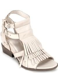 White Fringe Leather Heeled Sandals