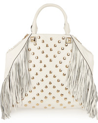 White Fringe Leather Tote Bag